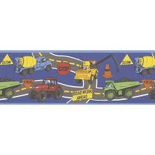 100 Toy Big Trucks The Dig Dark Blue Construction Wallpaper Border Sample