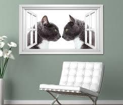 3d wandtattoo fenster katze katzen paar kuss liebe tiere schlafzimmer weiß wand aufkleber wanddurchbruch sticker selbstklebend wandbild wandsticker