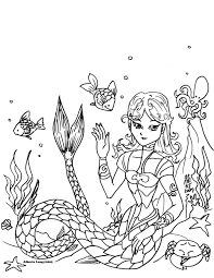 Brilliant Cartoon Mermaid Coloring Pages With Mermaids And Ariel