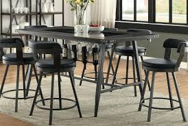 Tall Dining Room Sets Table Elegant Metal And Glass 5 Piece Counter Height