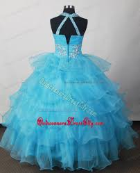 rhinestones aqua blue pageant dress for kids with ruffled layers