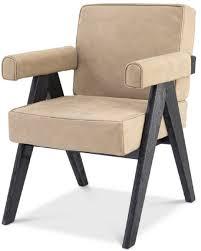 casa padrino luxus echtleder esszimmerstuhl mit armlehnen beige schwarz 64 x 70 x h 87 5 cm küchenstuhl mit edlem nubuk büffelleder luxus