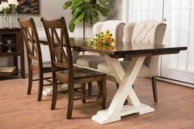 7 X 37 Trestle Table Without Apron In Dark Walnut Stain And Ivory Painted