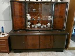 alter wohnzimmerschrank antik massiv holz mit glasteil