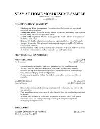 No Work History Resume Examples A Stay At Home Mom For Parents With Solid Amount Of