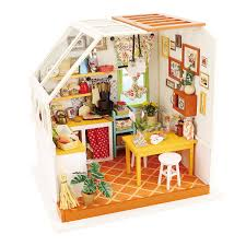 ROBOTIME Exquisite DIY House Miniature Dollhouse Kits Kitchen Room Birthday Gifts For Boyfriend Girlfriend