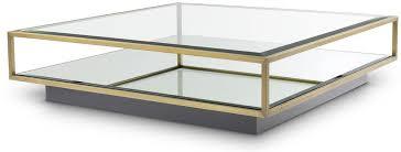 casa padrino luxus couchtisch messingfarben schwarz 120 x 120 x h 30 cm quadratischer edelstahl wohnzimmertisch mit spiegelglas und glasplatte