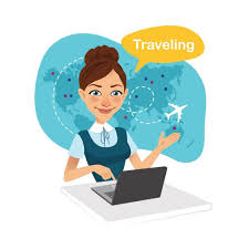 Travel Agency Banner Woman Sitting At Table In Office Agent Working For Laptop