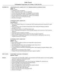 Download TV Production Assistant Resume Sample As Image File