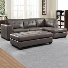 Grey Leather Sectional Living Room Ideas by Carmine Grey Bonded Leather Sectional With Chaise And Optional