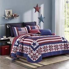 AMERICAN STAR Full Queen QUILT SET RED WHITE BLUE FLAG COUNTRY CABIN PATRIOTIC