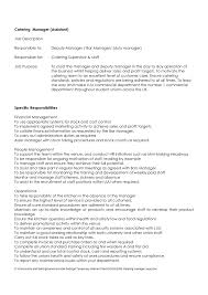 Catering Job Description Resume Formal Assistant And Specific Responsibilities For Sales Manager Business Jobion Example Duties