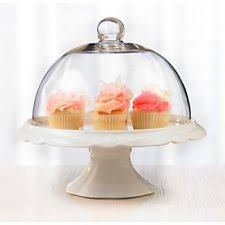 Cake Plate Dome Vintage Glass Lid Cover Pedestal W Saver Stand Clear Footed NEW