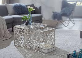 wohnling design couchtisch silber 2er set aluminium wohnzimmertisch eckig beistelltisch set ast struktur metall zweiteilig tischset satztisch