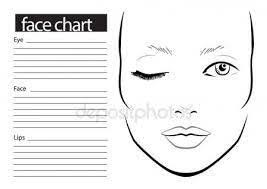 Face Chart Makeup Artist Blank Template Vector Illustration
