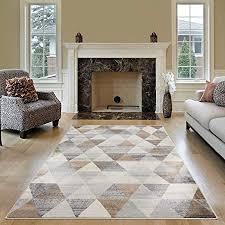 mynes home moderner kurzflor teppich in beige grau braun mit geometrischen dreick muster auch als wohnzimmerteppich und kinderzimmer geeignet 160x230