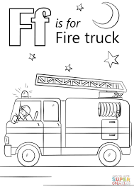 Letter F Is For Fire Truck Coloring Page | Free Printable Coloring ...