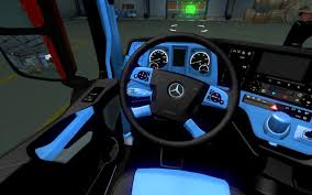 MERCEDES NEW ACTROS BLUE-BLACK INTERIOR 1.22 Mod -Euro Truck ...