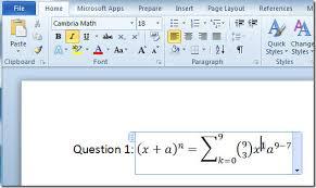 Add Math Equations With Word 2010 Equation Editor