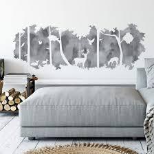 wandtattoo waldsilhouette panorama watercolor grau