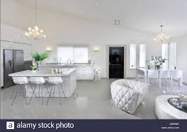 Open Plan Living Room And Kitchen Island With Stools Black Front Door