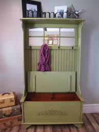 Vintage Black Wooden Hall Way Bench With Beadboard Cabinet Doors Combined Mounted Coat Racks