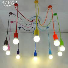 silicone colorful pendant lights diy multi color e27 bulb holder