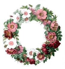 Free Vintage Clip Art Rose Wreath