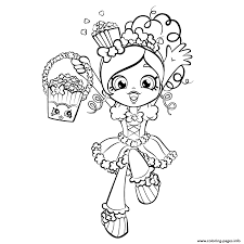 Printable Happy Shopkins Shoppies With Popcorn Coloring Pages