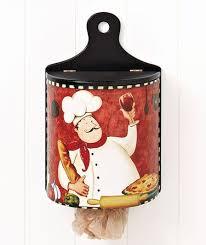 Fat Chef Italian Bistro Wooden Wall Mount Plastic Bag Dispenser Kitchen Decor
