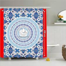 duschvorhang blau badezimmer zubehör orientalischen fliesen mandala hippie bohemian kunstsammlung weiß