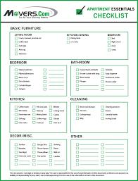 Apartment Essentials Move In Checklist