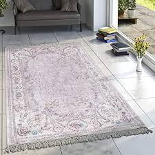 designer teppich wohnzimmer teppiche bedruckt bordüre floral pastell rosa creme grösse 80x300 cm