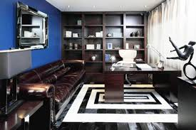 Blue Wall Paint And Black N White Office Decor