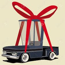 Funny Cartoon Pickup Truck Wraped As A Gift Royalty Free Cliparts ...