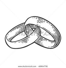 Wedding rings Hand drawn in a graphic style Vintage black vector engraving illustration for