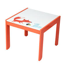 Wooden Activity Table Chair Set, Fox Printed White Toddler Table For 1-5  Years