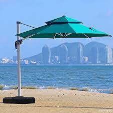 Purple Leaf 11 Feet Double Top Deluxe Patio Umbrella Offset Hanging Outdoor Market Garden Turquoise