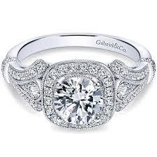 Gabriel Delilah Vintage Style Diamond Halo Engagement Ring