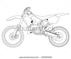 Dirt Bike Sketch On A White Background Isolated Drawing