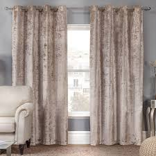 Blackout Curtain Liner Eyelet by Elegance Allure Natural Crushed Velvet Luxury Eyelet Curtains