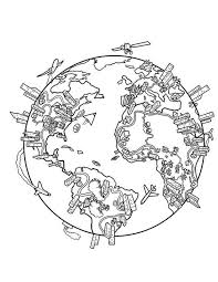 World Globe Coloring Page Earth Population In Map Prek