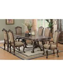 Windsor Cherry Finished Wood 7 Piece Dining Set With Beige Chairs 7PC