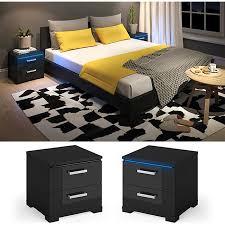 vicco nachtschrank picot led nachttisch kommode schlafzimmer schwarz hochglanz
