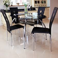 Small Black Dining Table And Chairs Glass Innovative Top Tables Round Awesome Collection Narrow Metal Set