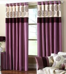 Fabric For Curtains Uk by Purple Fabric Curtains With Patterned Top Part On Steel Rod