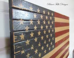 Traditional Wood American Flag Patriotic Decor Wall Hanging Art Sign Americana
