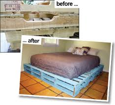 instructions to make a queen sized pallet bed frame decor