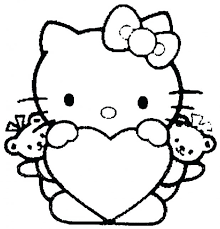 Free Printable Hello Kitty Valentine Coloring Pages Pictures For Kids To Print Out Heart P