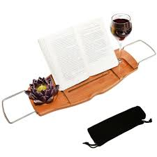 Bamboo Bathtub Caddy Tray by Luxury Bamboo Bathtub Caddy Tray With Reading Rack And Wine Glass
